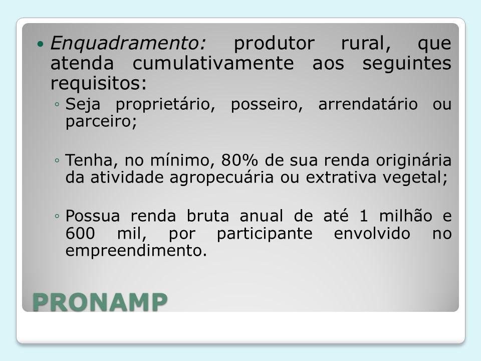 Enquadramento: produtor rural, que atenda cumulativamente aos seguintes requisitos:
