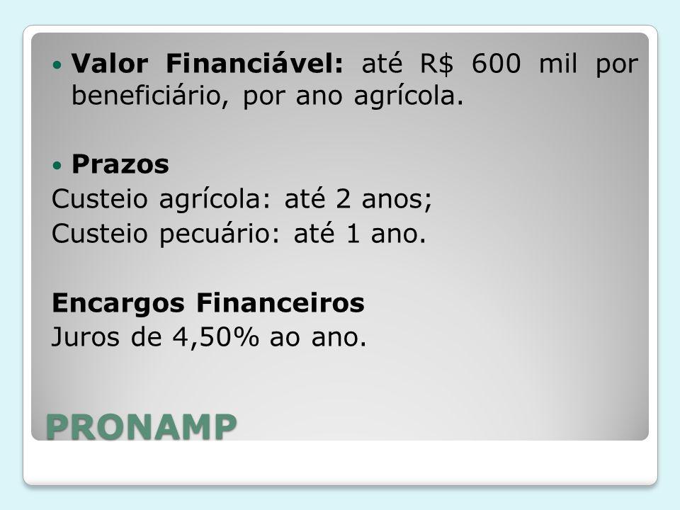 Valor Financiável: até R$ 600 mil por beneficiário, por ano agrícola.
