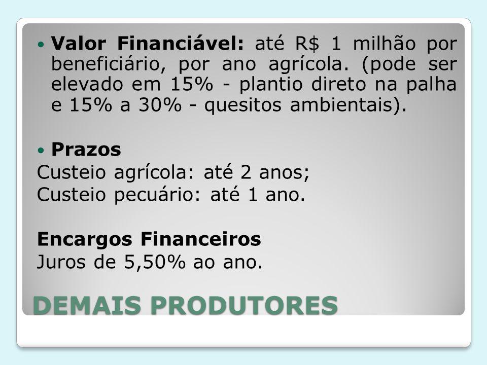 Valor Financiável: até R$ 1 milhão por beneficiário, por ano agrícola