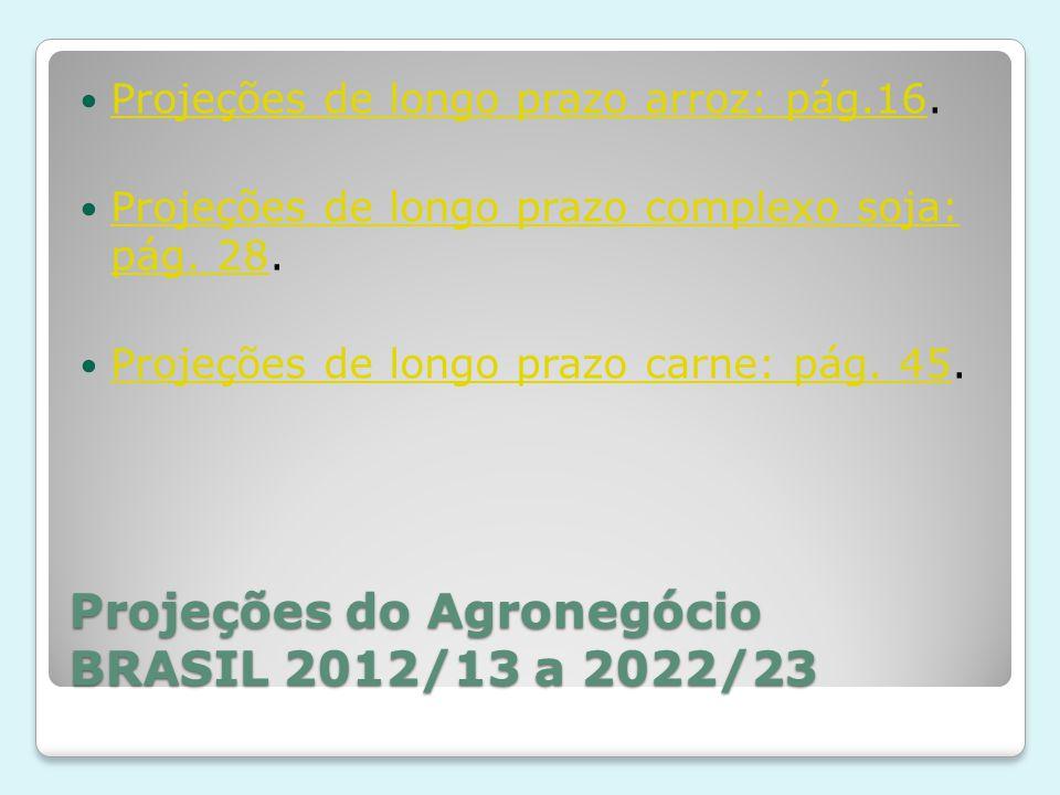 Projeções do Agronegócio BRASIL 2012/13 a 2022/23