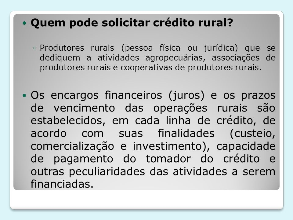 Quem pode solicitar crédito rural