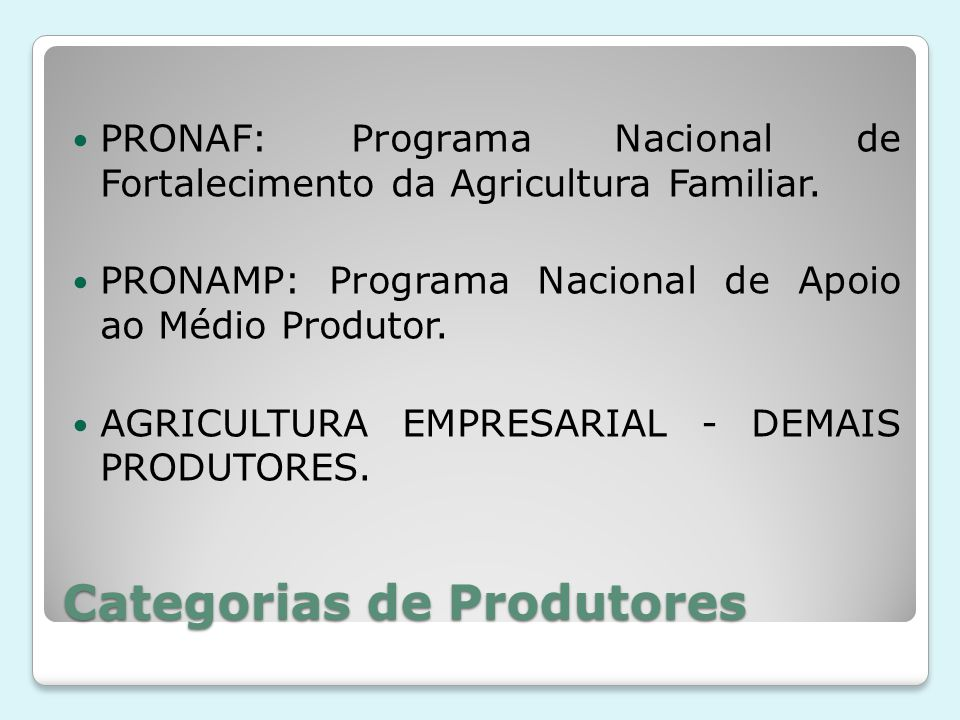 Categorias de Produtores