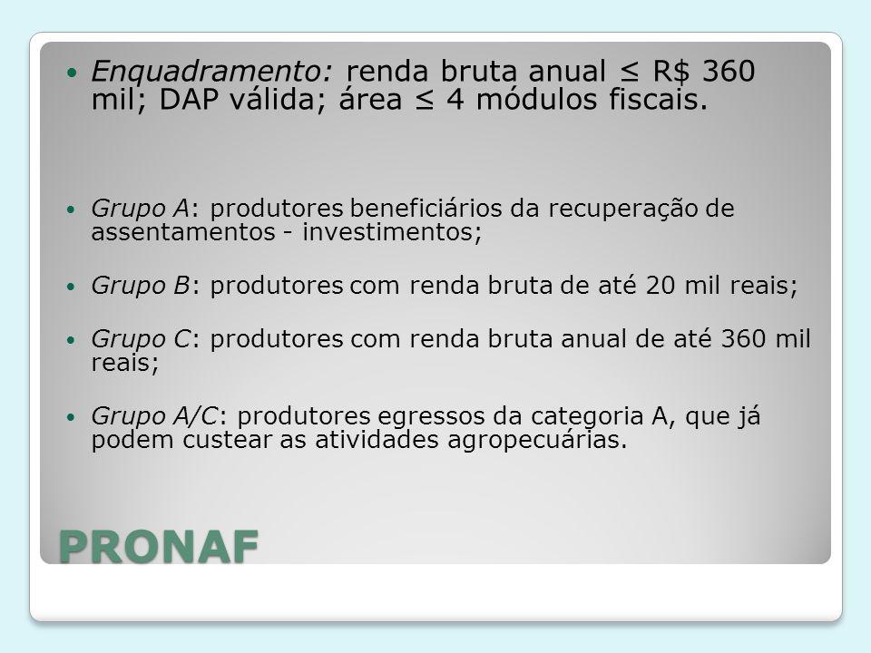 Enquadramento: renda bruta anual ≤ R$ 360 mil; DAP válida; área ≤ 4 módulos fiscais.