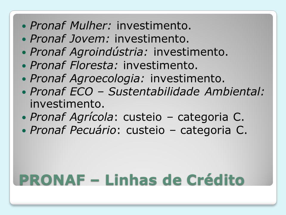 PRONAF – Linhas de Crédito