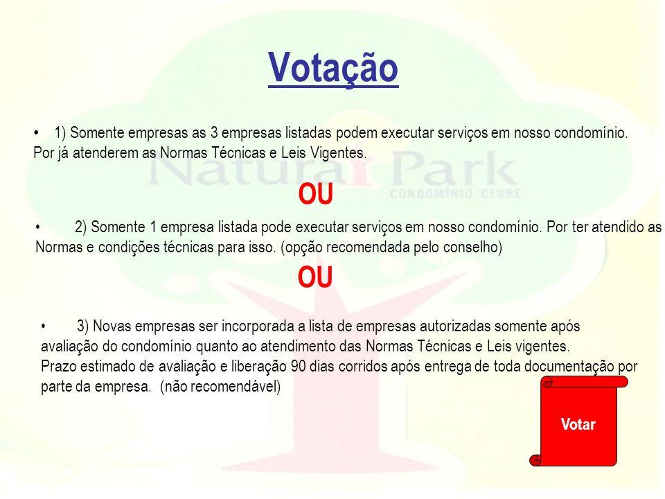 Votação 1) Somente empresas as 3 empresas listadas podem executar serviços em nosso condomínio. Por já atenderem as Normas Técnicas e Leis Vigentes.