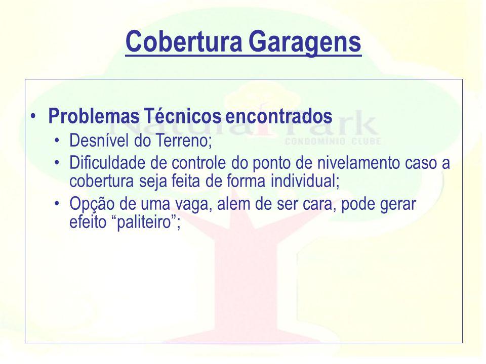Cobertura Garagens Problemas Técnicos encontrados Desnível do Terreno;