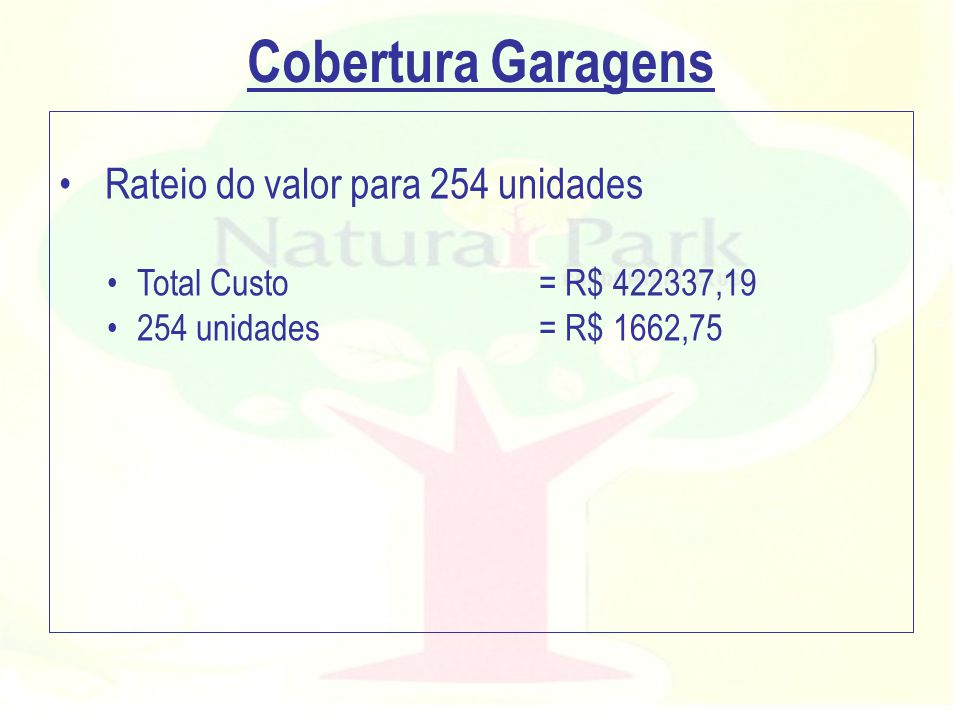 Cobertura Garagens Rateio do valor para 254 unidades