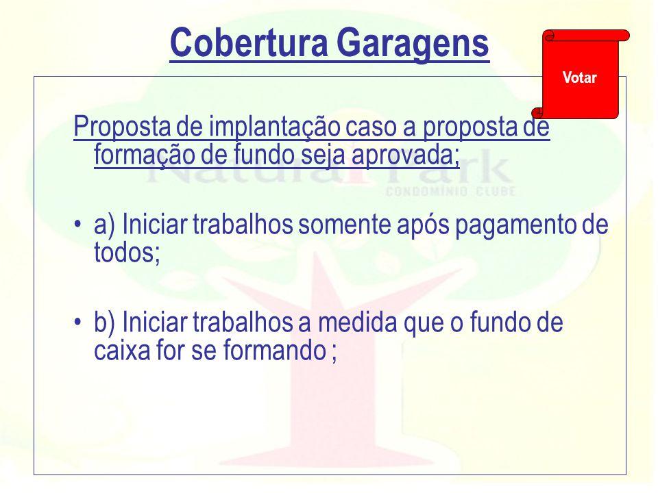 Cobertura Garagens Votar. Proposta de implantação caso a proposta de formação de fundo seja aprovada;