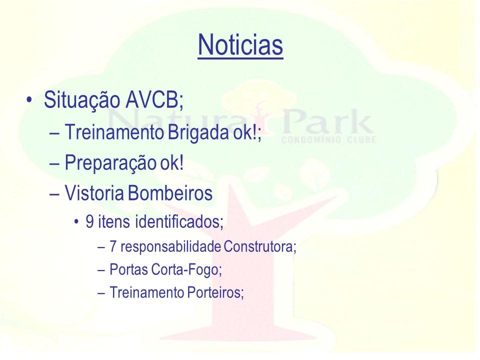 Noticias Situação AVCB; Treinamento Brigada ok!; Preparação ok!