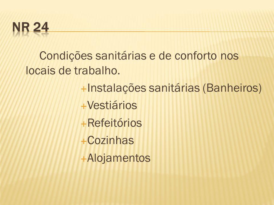 NR 24 Instalações sanitárias (Banheiros) Vestiários Refeitórios