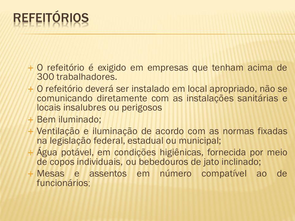 Refeitórios O refeitório é exigido em empresas que tenham acima de 300 trabalhadores.