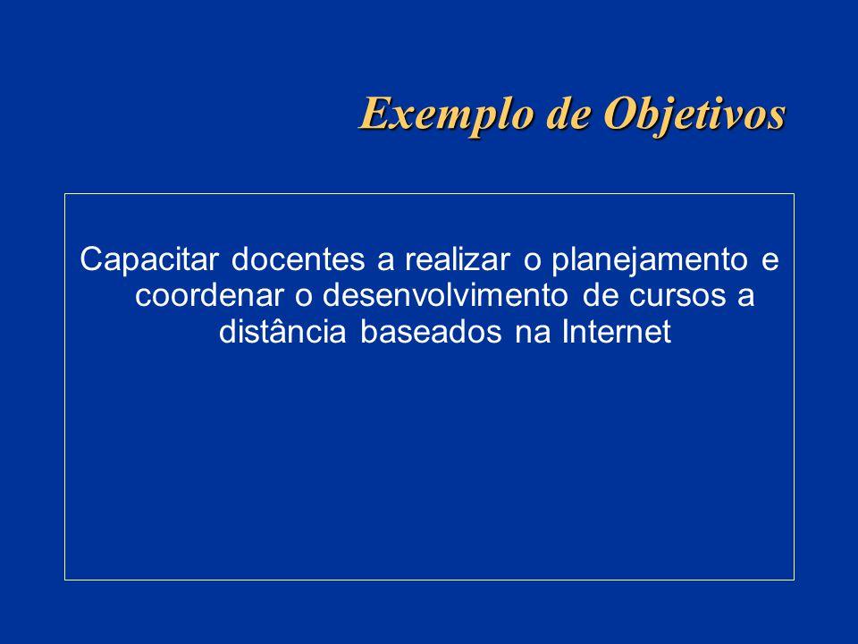 Exemplo de Objetivos Capacitar docentes a realizar o planejamento e coordenar o desenvolvimento de cursos a distância baseados na Internet.