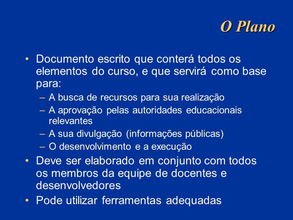 O Plano Documento escrito que conterá todos os elementos do curso, e que servirá como base para: A busca de recursos para sua realização.