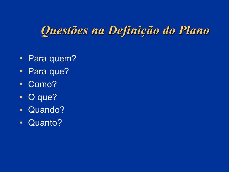 Questões na Definição do Plano