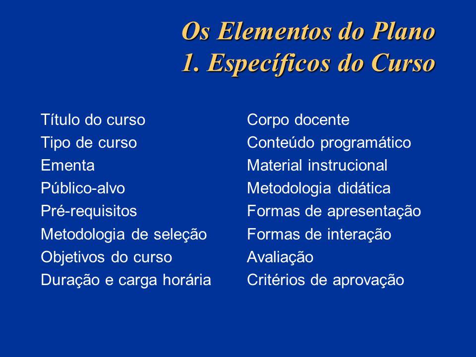Os Elementos do Plano 1. Específicos do Curso