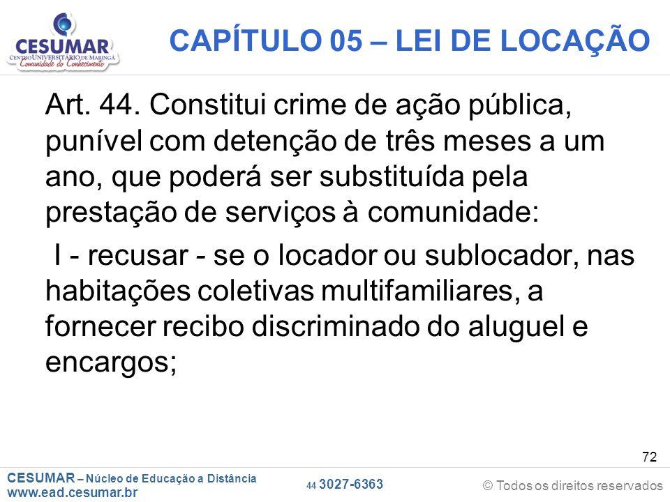 CAPÍTULO 05 – LEI DE LOCAÇÃO