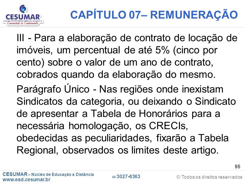 CAPÍTULO 07– REMUNERAÇÃO
