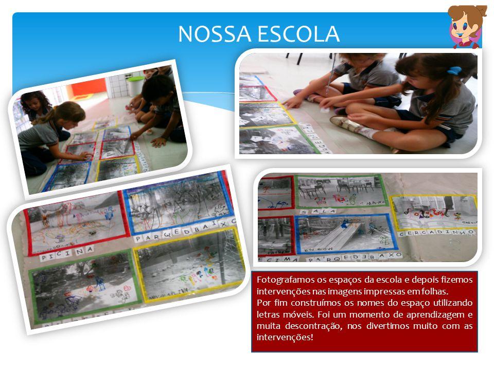NOSSA ESCOLA Fotografamos os espaços da escola e depois fizemos intervenções nas imagens impressas em folhas.