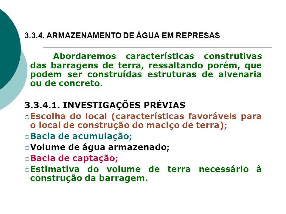 3.3.4. ARMAZENAMENTO DE ÁGUA EM REPRESAS