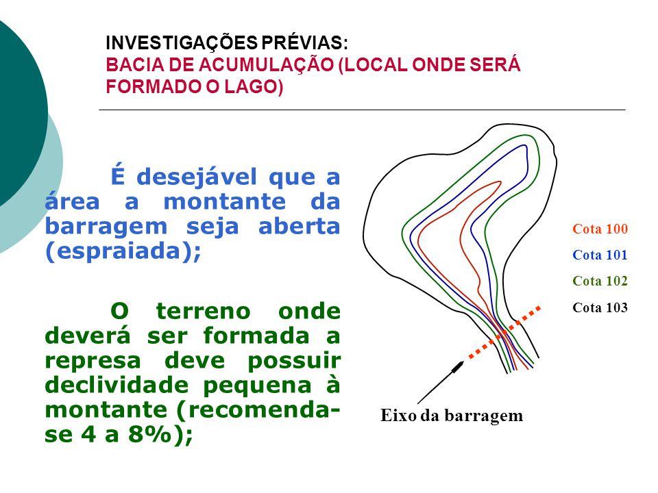 É desejável que a área a montante da barragem seja aberta (espraiada);