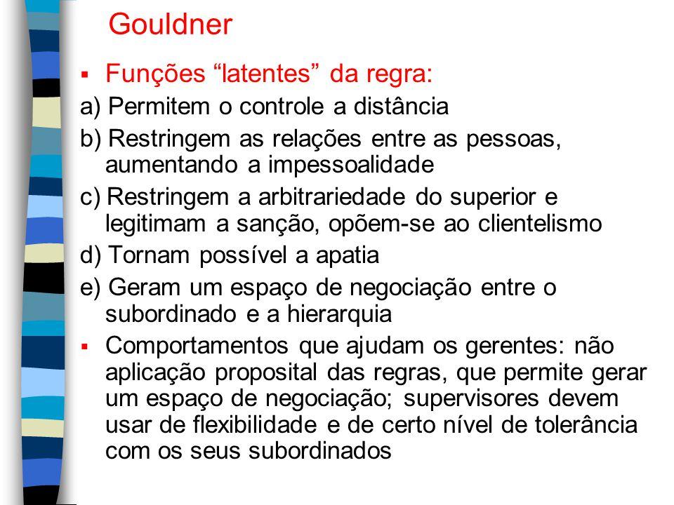 Gouldner Funções latentes da regra:
