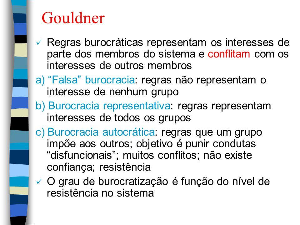 Gouldner Regras burocráticas representam os interesses de parte dos membros do sistema e conflitam com os interesses de outros membros.
