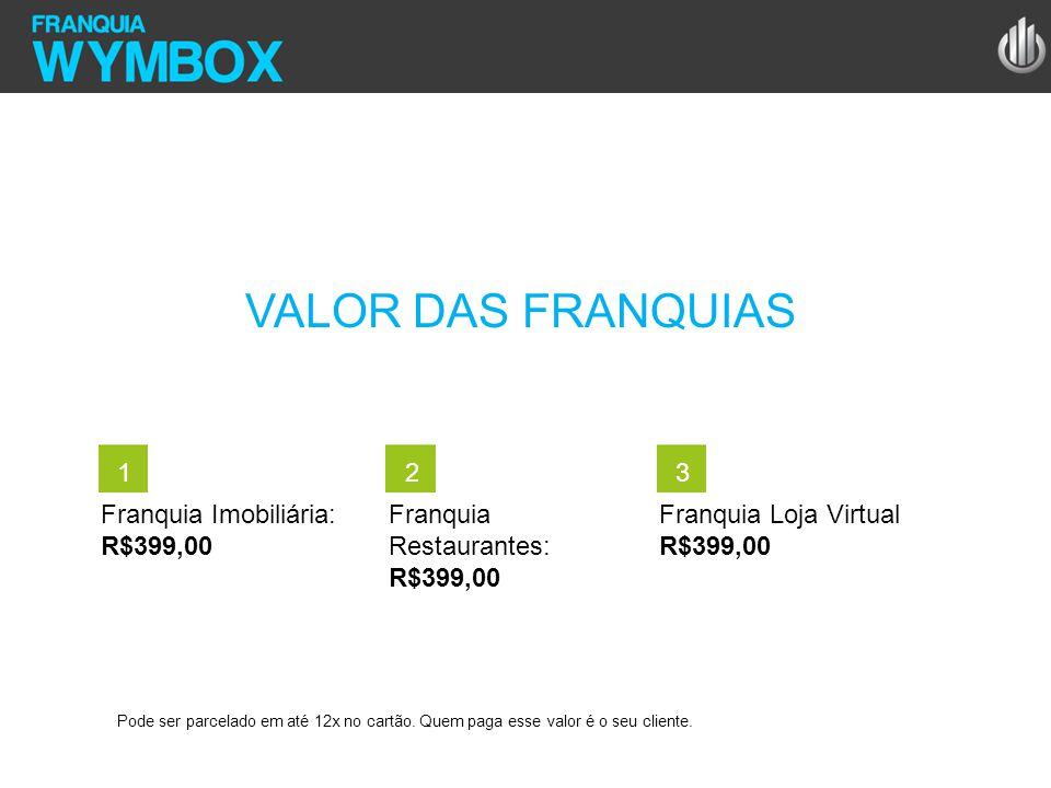 VALOR DAS FRANQUIAS 1 2 3 Franquia Imobiliária: R$399,00