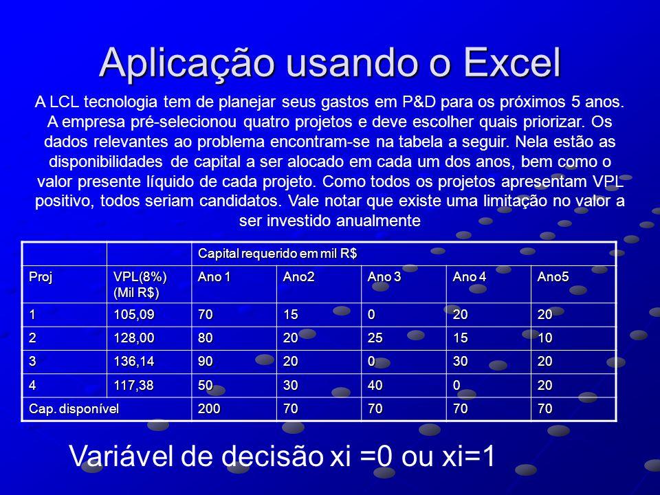 Aplicação usando o Excel