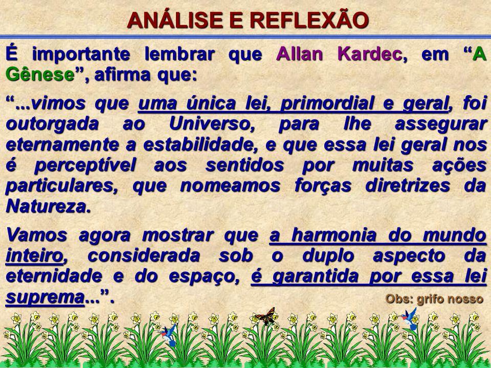 ANÁLISE E REFLEXÃO É importante lembrar que Allan Kardec, em A Gênese , afirma que: