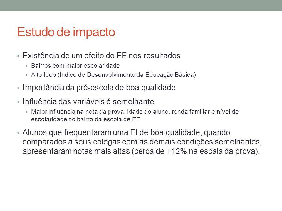 Estudo de impacto Existência de um efeito do EF nos resultados