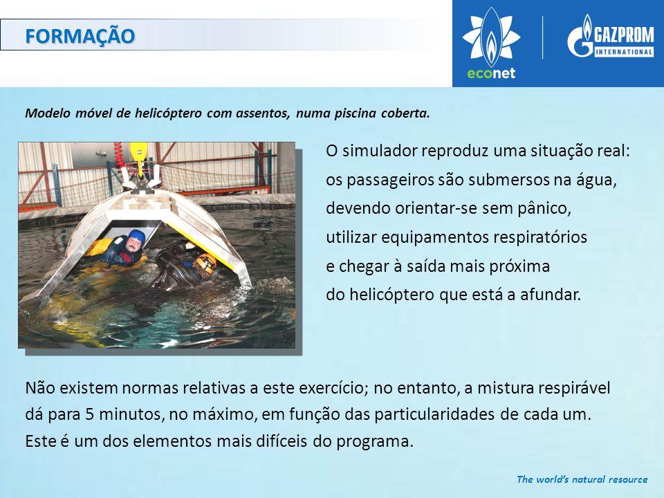 FORMAÇÃO Modelo móvel de helicóptero com assentos, numa piscina coberta.