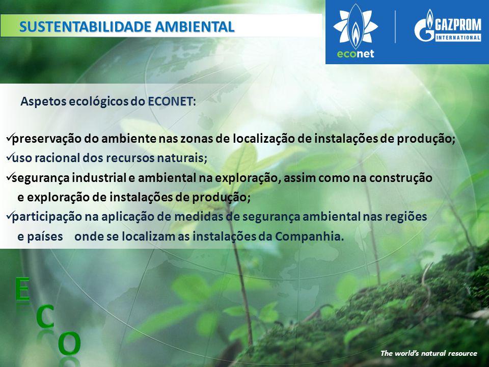 E C O SUSTENTABILIDADE AMBIENTAL Aspetos ecológicos do ECONET: