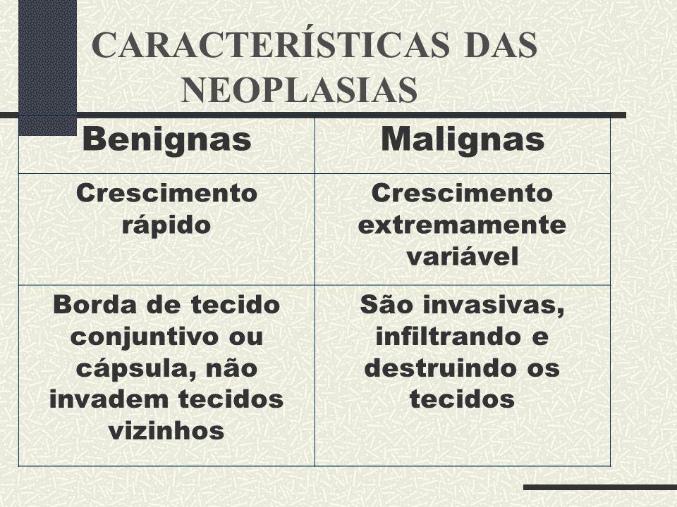 CARACTERÍSTICAS DAS NEOPLASIAS