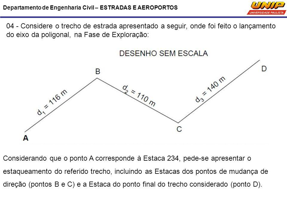do eixo da poligonal, na Fase de Exploração: