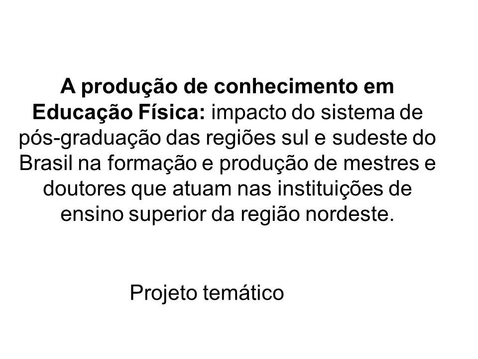 A produção de conhecimento em Educação Física: impacto do sistema de pós-graduação das regiões sul e sudeste do Brasil na formação e produção de mestres e doutores que atuam nas instituições de ensino superior da região nordeste.
