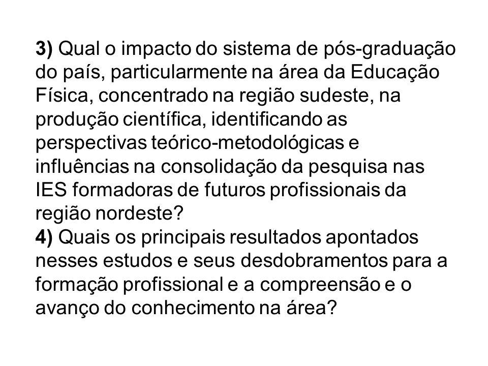 3) Qual o impacto do sistema de pós-graduação do país, particularmente na área da Educação Física, concentrado na região sudeste, na produção científica, identificando as perspectivas teórico-metodológicas e influências na consolidação da pesquisa nas IES formadoras de futuros profissionais da região nordeste