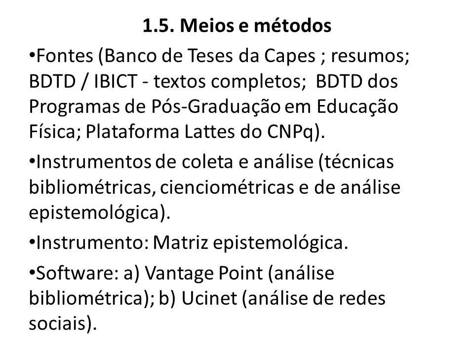 1.5. Meios e métodos