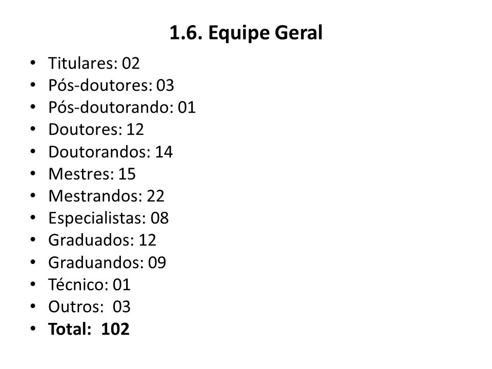 1.6. Equipe Geral Total: 102 Titulares: 02 Pós-doutores: 03