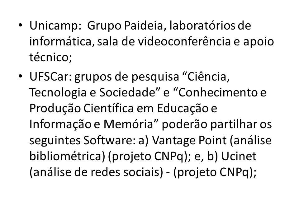 Unicamp: Grupo Paideia, laboratórios de informática, sala de videoconferência e apoio técnico;