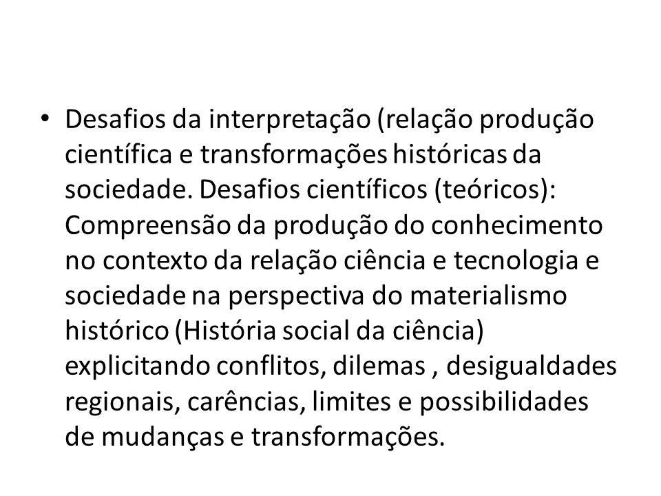 Desafios da interpretação (relação produção científica e transformações históricas da sociedade.
