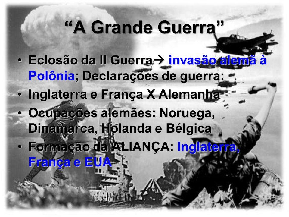 A Grande Guerra Eclosão da II Guerra invasão alemã à Polônia; Declarações de guerra: Inglaterra e França X Alemanha.