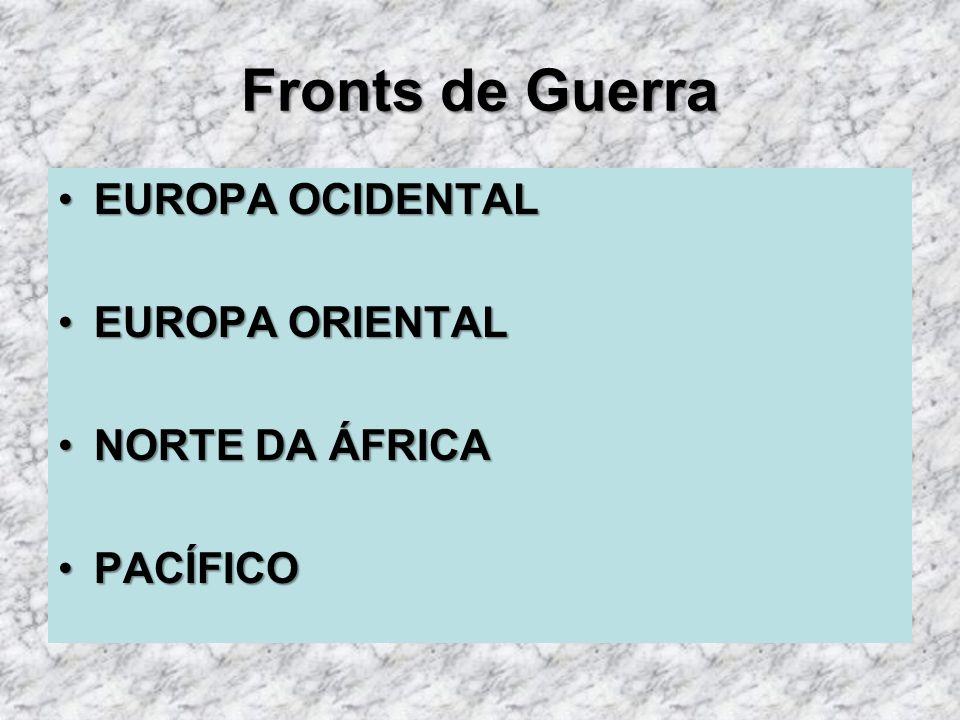 Fronts de Guerra EUROPA OCIDENTAL EUROPA ORIENTAL NORTE DA ÁFRICA