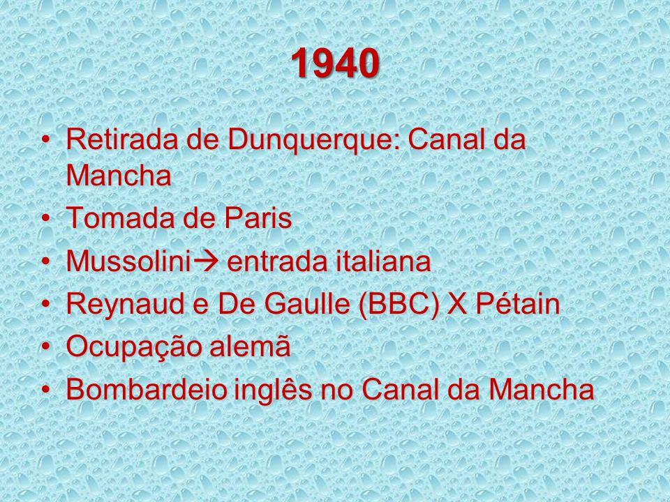 1940 Retirada de Dunquerque: Canal da Mancha Tomada de Paris