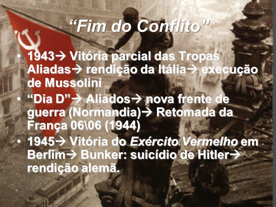Fim do Conflito 1943 Vitória parcial das Tropas Aliadas rendição da Itália execução de Mussolini.