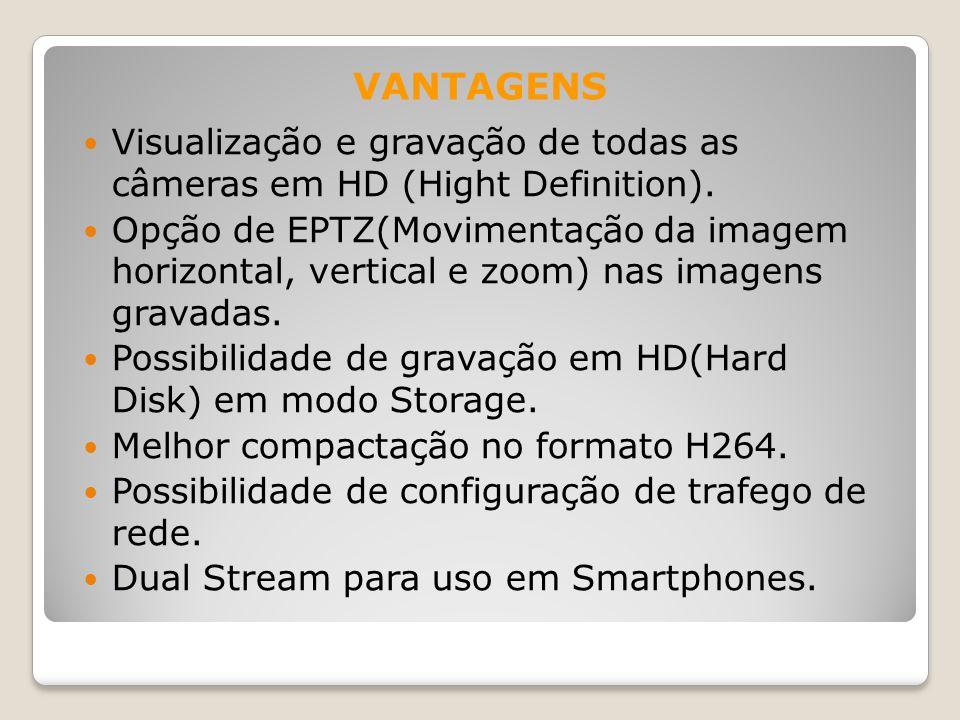 VANTAGENS Visualização e gravação de todas as câmeras em HD (Hight Definition).
