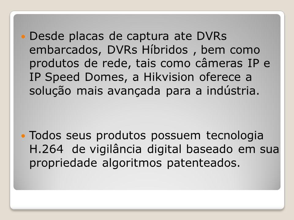 Desde placas de captura ate DVRs embarcados, DVRs Híbridos , bem como produtos de rede, tais como câmeras IP e IP Speed Domes, a Hikvision oferece a solução mais avançada para a indústria.