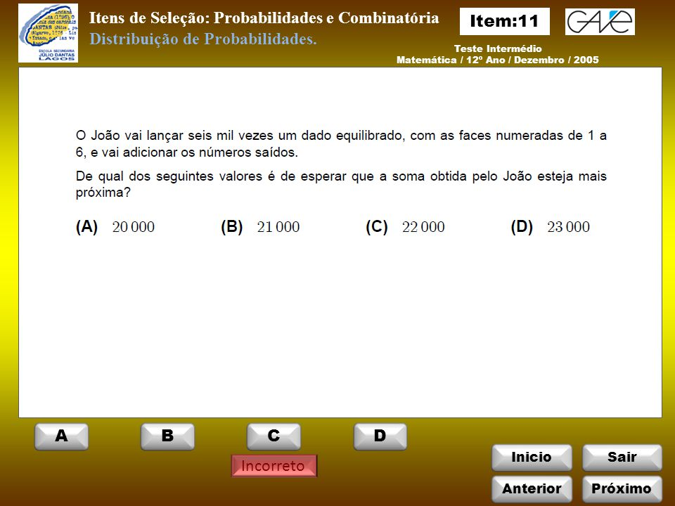 Matemática / 12º Ano / Dezembro / 2005