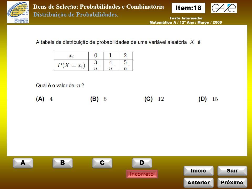 Matemática A / 12º Ano / Março / 2009