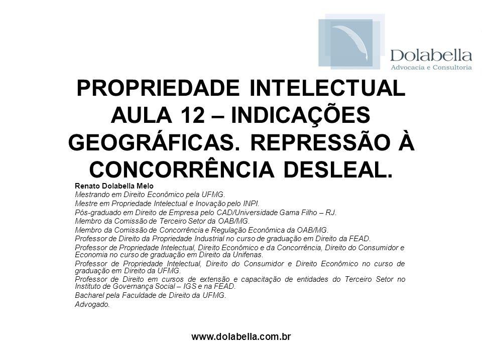 PROPRIEDADE INTELECTUAL AULA 12 – INDICAÇÕES GEOGRÁFICAS