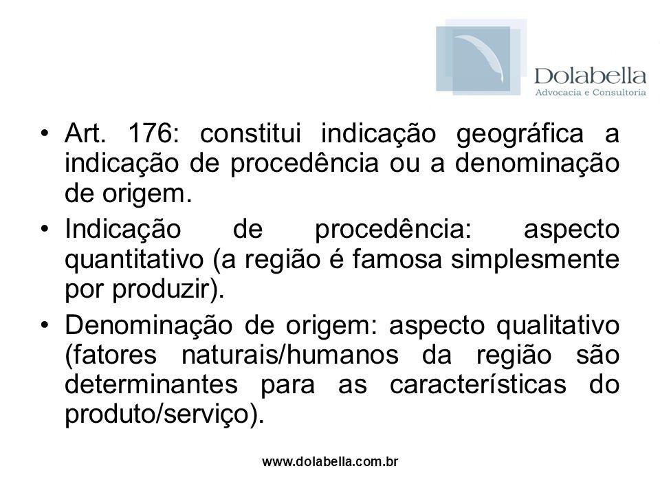 Art. 176: constitui indicação geográfica a indicação de procedência ou a denominação de origem.